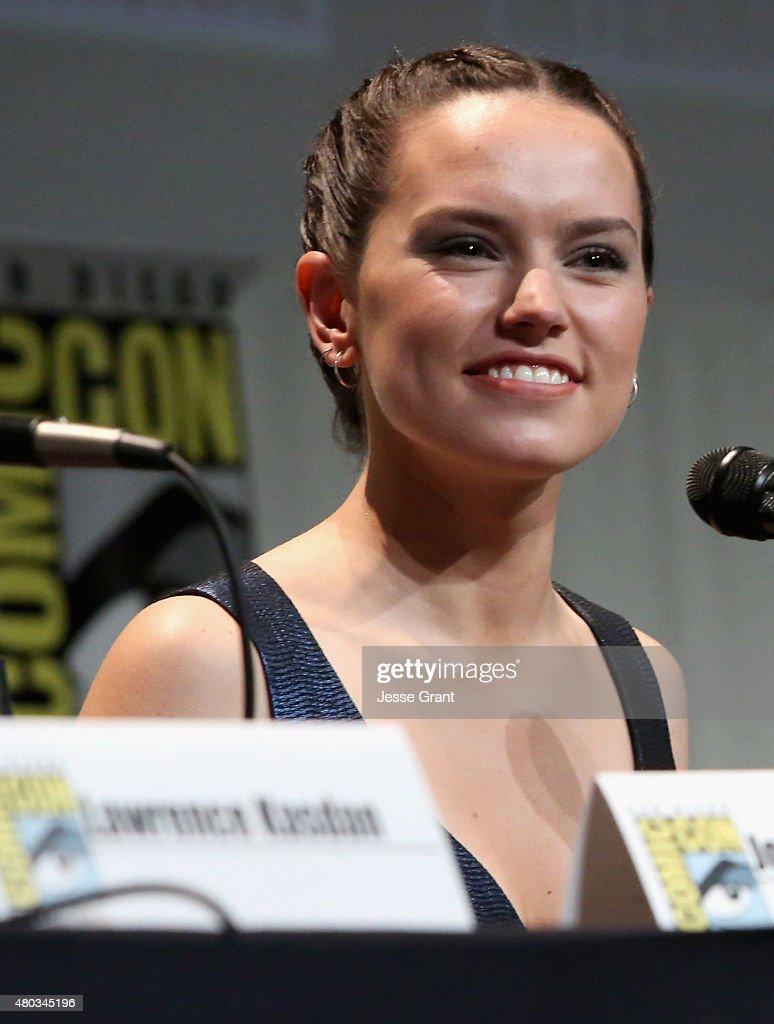 Actress Daisy Ridley at the Hall H Panel for 'Star Wars: The Force Awakens' during Comic-Con International 2015 at the San Diego Convention Center on July 10, 2015 in San Diego, California.