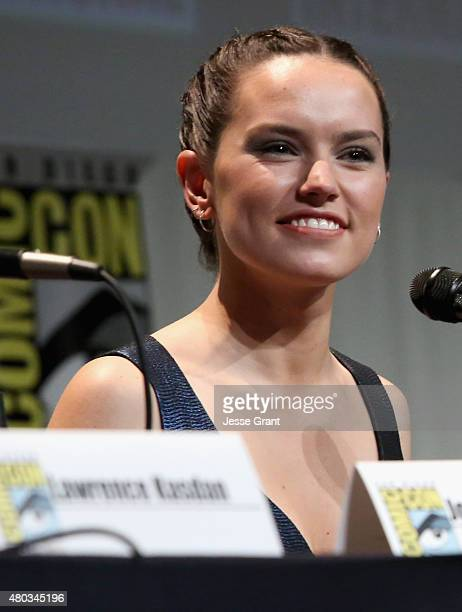 Actress Daisy Ridley at the Hall H Panel for 'Star Wars The Force Awakens' during ComicCon International 2015 at the San Diego Convention Center on...