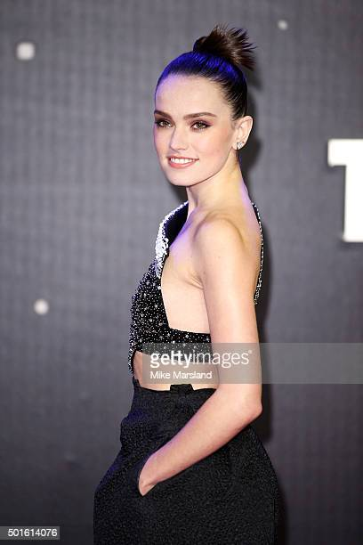 Actress Daisy Ridley attends the European Premiere of 'Star Wars The Force Awakens' at Leicester Square on December 16 2015 in London England