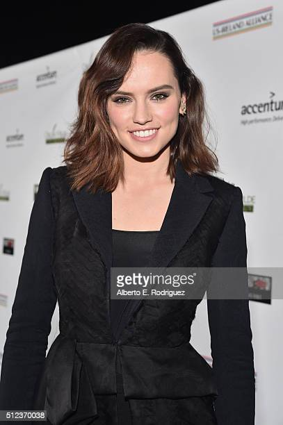 Actress Daisy Ridley attends the Oscar Wilde Awards at Bad Robot on February 25 2016 in Santa Monica California