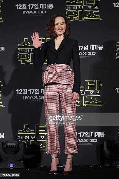 Actress Daisy Ridley attends the press conference for 'Star Wars The Force Awakens' at the Conrad Hotel on December 9 2015 in Seoul South Korea