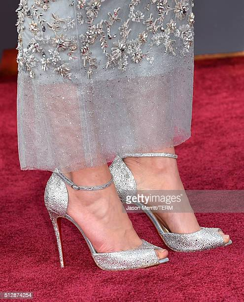 Actress Daisy Ridley shoe detail attends the 88th Annual Academy Awards at Hollywood Highland Center on February 28 2016 in Hollywood California