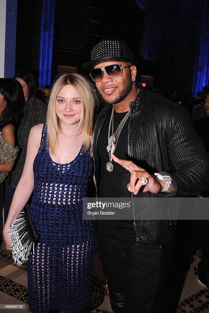 Actress Dakota Fanning and rapper Flo Rida attend the 18th Annual Accessories Council ACE Awards At Cipriani 42nd Street at Cipriani 42nd Street on...