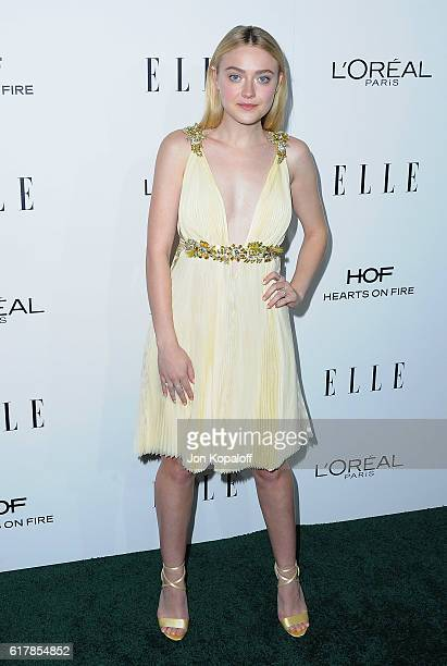 Actress Dakota Fanning arrives at the 23rd Annual ELLE Women In Hollywood Awards at Four Seasons Hotel Los Angeles at Beverly Hills on October 24...