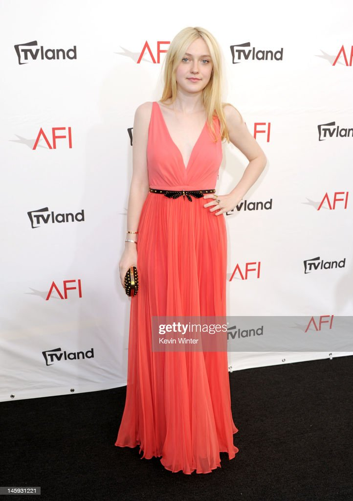 Actress Dakota Fanning arrives at the 40th AFI Life Achievement Award honoring Shirley MacLaine held at Sony Pictures Studios on June 7, 2012 in Culver City, California. The AFI Life Achievement Award tribute to Shirley MacLaine will premiere on TV Land on Saturday, June 24 at 9PM ET/PST.