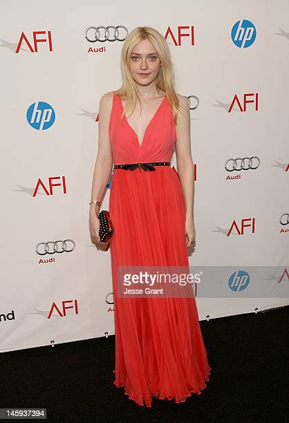 Actress Dakota Fanning arrives at The 40th AFI Life Achievement Award Honoring Shirley MacLaine sponsored by Audi at Sony Pictures Studios on June 7...