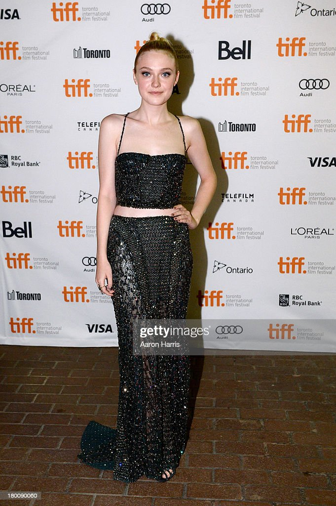 Actress <a gi-track='captionPersonalityLinkClicked' href=/galleries/search?phrase=Dakota+Fanning&family=editorial&specificpeople=203236 ng-click='$event.stopPropagation()'>Dakota Fanning</a> arrives at the 'Night Moves' Premiere during the 2013 Toronto International Film Festival at the Ryerson Theatre on September 8, 2013 in Toronto, Canada.