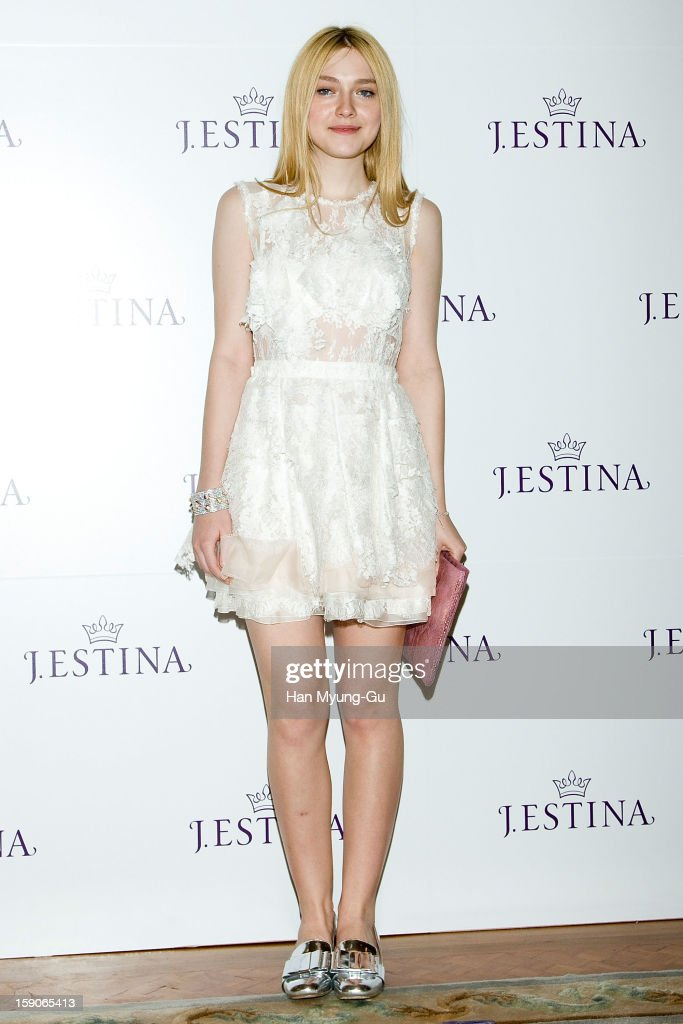 Actress Dakota Fanning attends a promotional event for the 2013 JESTINA SS presentation at Shilla Hotel on January 7 2013 in Seoul South Korea