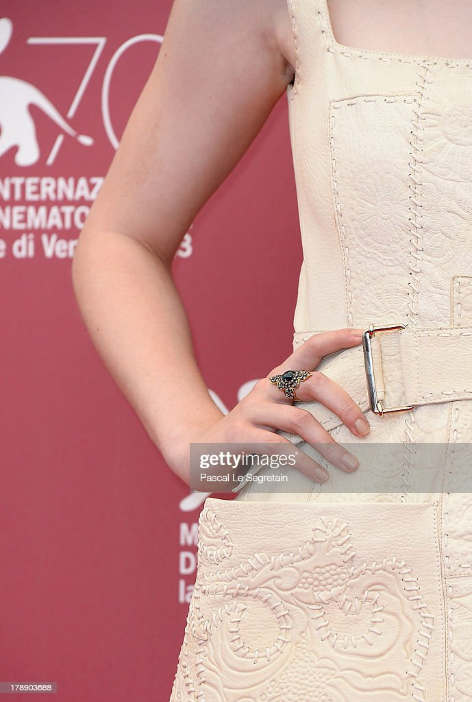 Actress <a gi-track='captionPersonalityLinkClicked' href=/galleries/search?phrase=Dakota+Fanning&family=editorial&specificpeople=203236 ng-click='$event.stopPropagation()'>Dakota Fanning</a> (ring detail) attends 'Night Moves' Photocall during the 70th Venice International Film Festival at the Palazzo del Casino on August 31, 2013 in Venice, Italy.
