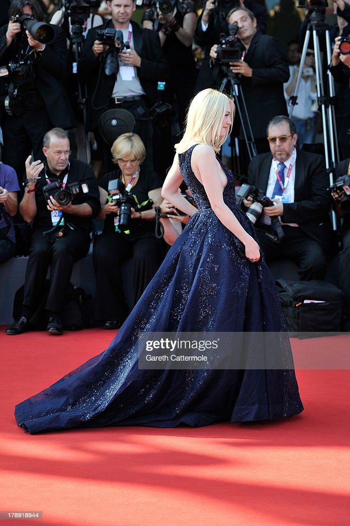 Actress <a gi-track='captionPersonalityLinkClicked' href=/galleries/search?phrase=Dakota+Fanning&family=editorial&specificpeople=203236 ng-click='$event.stopPropagation()'>Dakota Fanning</a> attends 'Night Moves' Premiere during the 70th Venice International Film Festival at the Palazzo del Cinema on August 31, 2013 in Venice, Italy.