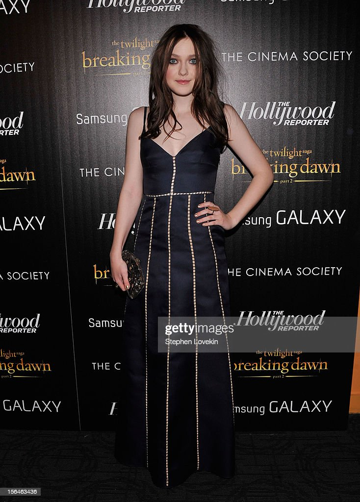 Actress Dakota Fanning attends The Cinema Society with The Hollywood Reporter And Samsung Galaxy screening of 'The Twilight Saga: Breaking Dawn Part 2' on November 15, 2012 in New York City.