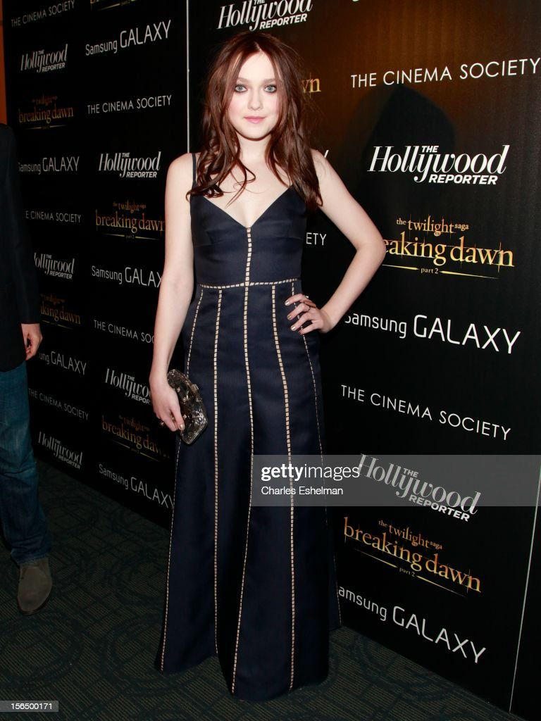 Actress Dakota Fanning attends the Cinema Society with The Hollywood Reporter and Samsung Galaxy screening of 'The Twilight Saga: Breaking Dawn Part 2' at the Landmark Sunshine Cinema on November 15, 2012 in New York City.