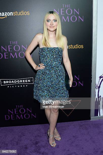 Actress Dakota Fanning attends the premiere of Amazon's 'The Neon Demon' at ArcLight Cinemas Cinerama Dome on June 14 2016 in Hollywood California