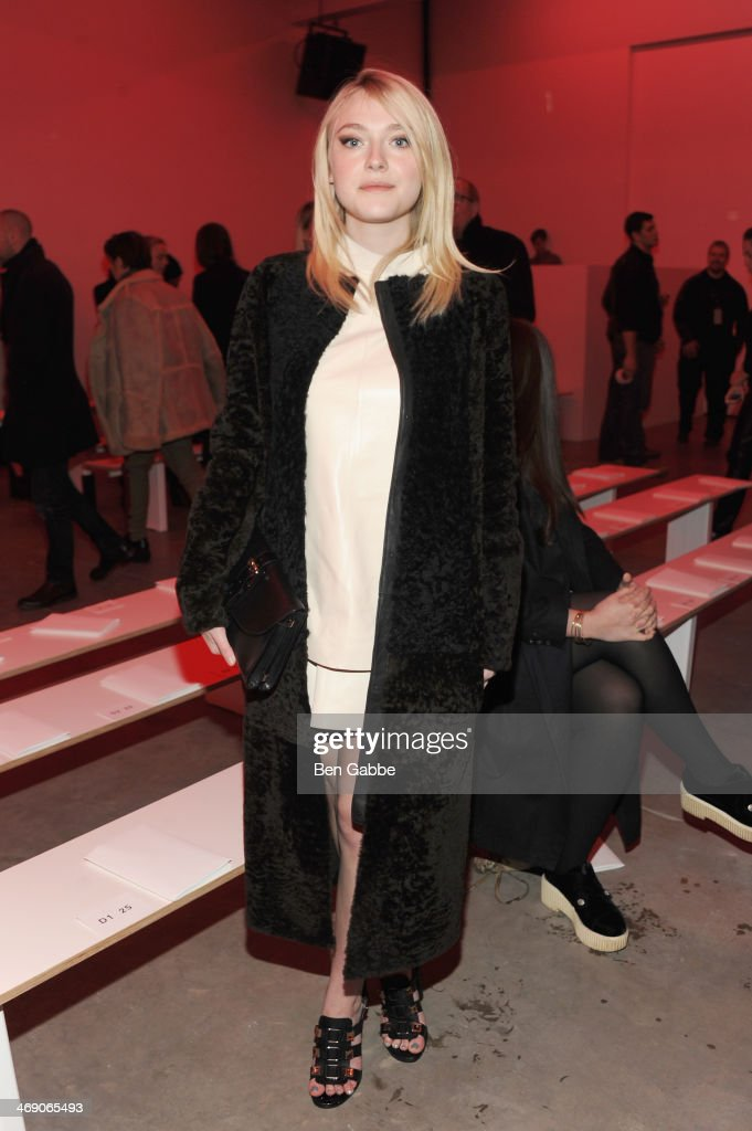 Actress <a gi-track='captionPersonalityLinkClicked' href=/galleries/search?phrase=Dakota+Fanning&family=editorial&specificpeople=203236 ng-click='$event.stopPropagation()'>Dakota Fanning</a> attends the Proenza Schouler fashion show during Mercedes-Benz Fashion Week Fall 2014 on February 12, 2014 in New York City.