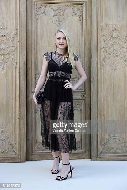 Actress Dakota Fanning attends the Valentino show as part of the Paris Fashion Week Womenswear Spring/Summer 2017 on October 2 2016 in Paris France