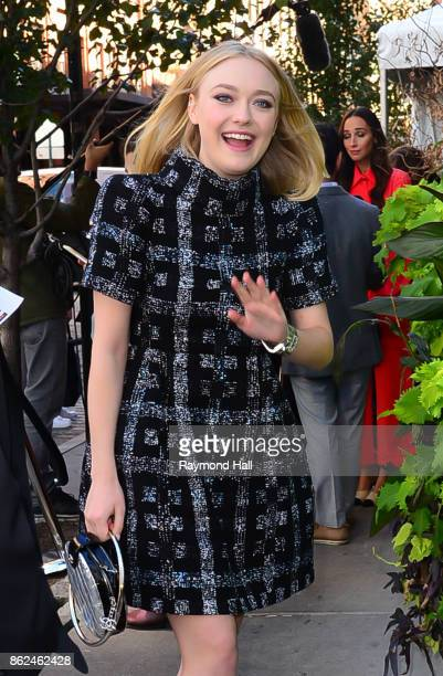 Actress Dakota Fanning is seen outsidre 'The Tribeca Chanel Womens Filmmarker Progam Lunchon' on October 17 2017 in New York City