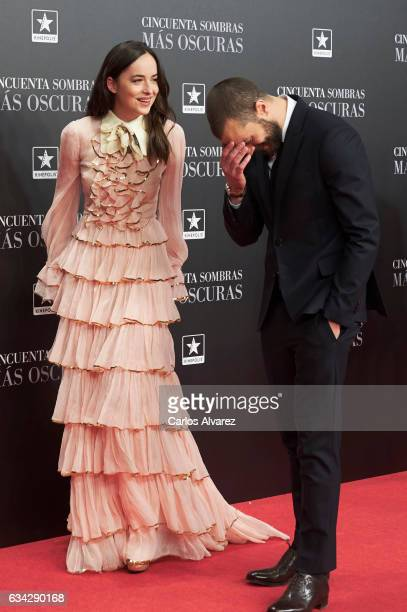 Actress Dakota Johnson and actor Jamie Dornan attend 'Fifty Shades Darker' premiere at the Kinepolis cinema on February 8 2017 in Madrid Spain