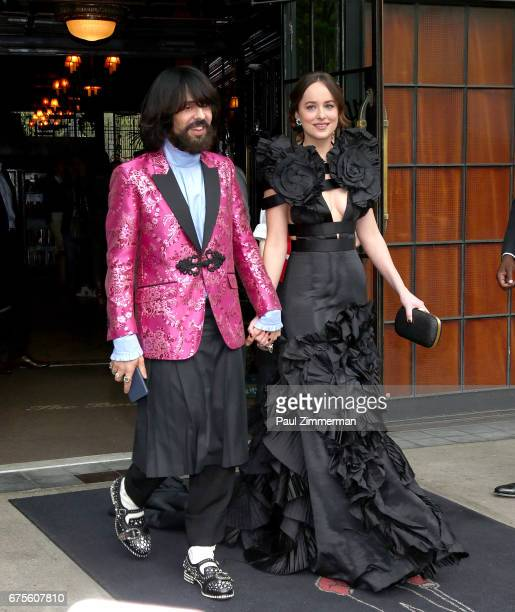 Actress Dakota Johnson and Gucci Creative Director Alessandro Michele are seen departing the Bowery Hotel on May 1 2017 in New York City