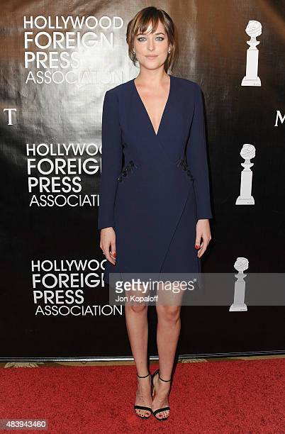 Actress Dakota Johnson arrives at Hollywood Foreign Press Association Hosts Annual Grants Banquet at the Beverly Wilshire Four Seasons Hotel on...