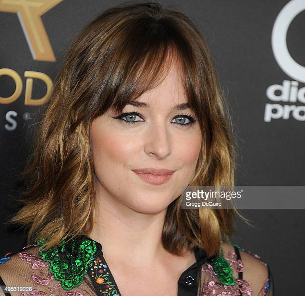 Actress Dakota Johnson arrives at the 19th Annual Hollywood Film Awards at The Beverly Hilton Hotel on November 1 2015 in Beverly Hills California