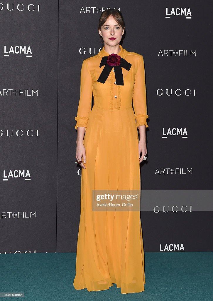 Actress Dakota Johnson arrives at the LACMA 2015 ArtFilm Gala Honoring James Turrell And Alejandro G Inarritu Presented By Gucci at LACMA on November...