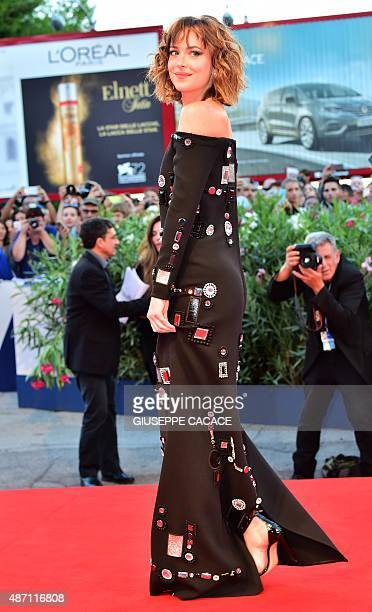 Actress Dakota Johnson arrives for the screening of the movie 'A Bigger Splash' presented in competition at the 72nd Venice International Film...