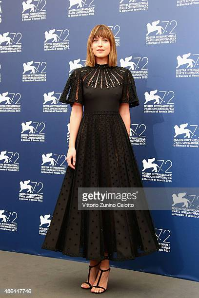 Actress Dakota Johnson attends a photocall for 'Black Mass' during the 72nd Venice Film Festival at Palazzo del Casino on September 4 2015 in Venice...