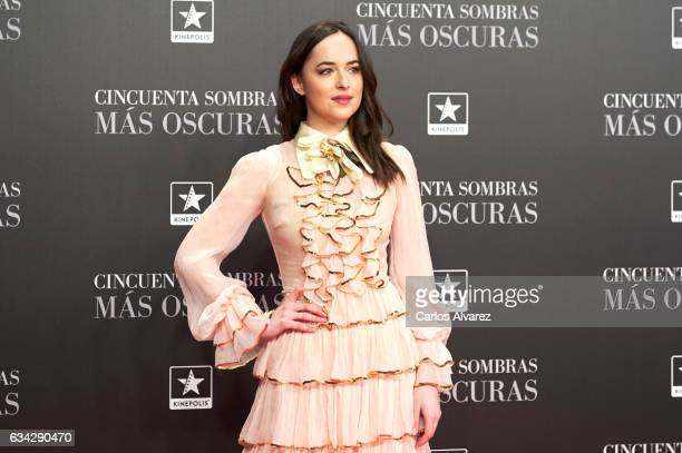 Actress Dakota Johnson attends 'Fifty Shades Darker' premiere at the Kinepolis cinema on February 8 2017 in Madrid Spain