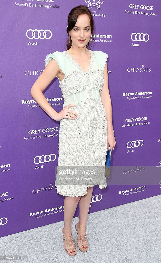 Actress <a gi-track='captionPersonalityLinkClicked' href=/galleries/search?phrase=Dakota+Johnson&family=editorial&specificpeople=2091563 ng-click='$event.stopPropagation()'>Dakota Johnson</a> attends the 12th Annual Chrysalis Butterfly Ball on June 8, 2013 in Los Angeles, California.