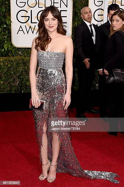 Actress Dakota Johnson attends the 72nd Annual Golden Globe Awards at The Beverly Hilton Hotel on January 11 2015 in Beverly Hills California