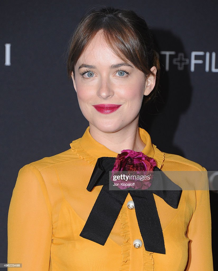 Actress Dakota Johnson attends the LACMA Art Film Gala honoring Alejandro Gonzalez Iarritu and James Turrell and presented by Gucci at LACMA on...