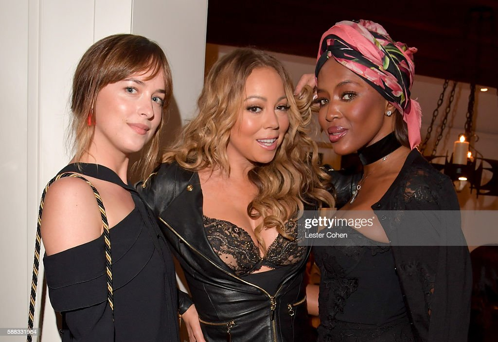 Actress Dakota Johnson, Mariah Carey and model Naomi Campbell attend the special event for UN Secretary-General Ban Ki-moon hosted by Brett Ratner and David Raymond at Hilhaven Lodge on August 10, 2016 in Los Angeles, California.