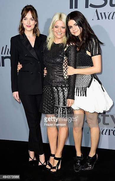 Actress Dakota Johnson stylist Kate Young and actress Selena Gomez attend the InStyle Awards at Getty Center on October 26 2015 in Los Angeles...