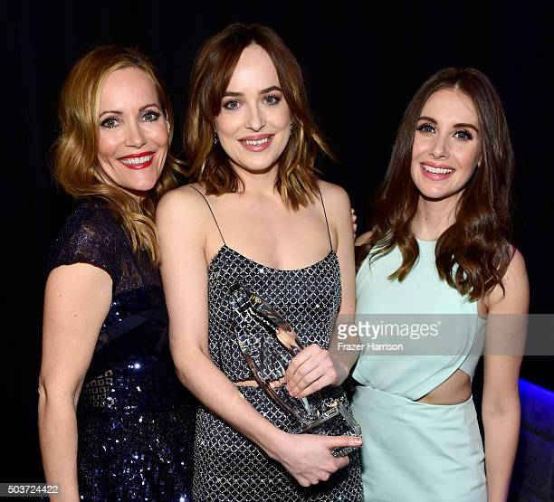 Actress Dakota Johnson wearing Cartier jewelry and actresses Leslie Mann and Allison Brie attend the People's Choice Awards 2016 at Microsoft Theater...