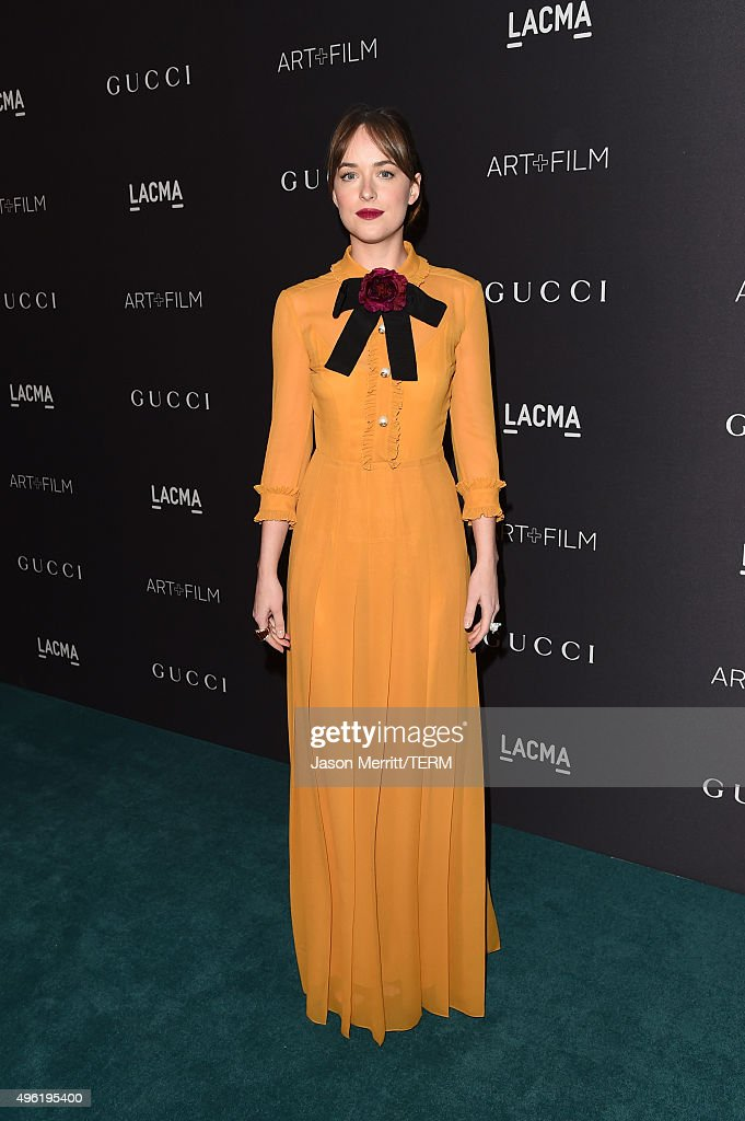 Actress Dakota Johnson, wearing Gucci, attends LACMA 2015 Art+Film Gala Honoring James Turrell and Alejandro G Iñárritu, Presented by Gucci at LACMA on November 7, 2015 in Los Angeles, California.