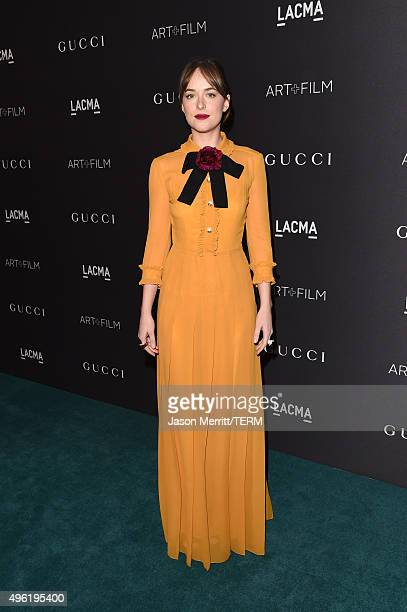 Actress Dakota Johnson wearing Gucci attends LACMA 2015 ArtFilm Gala Honoring James Turrell and Alejandro G Iñárritu Presented by Gucci at LACMA on...