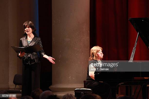 Actress Dame Harriet Walter portrays Clara Schumann as pianist Lucy Parham plays at a Steinway piano during a performance in 'Composers In Love...