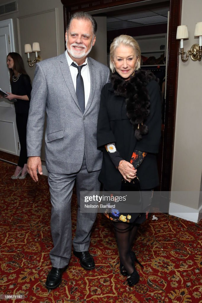 Actress Dame <a gi-track='captionPersonalityLinkClicked' href=/galleries/search?phrase=Helen+Mirren&family=editorial&specificpeople=201576 ng-click='$event.stopPropagation()'>Helen Mirren</a> and <a gi-track='captionPersonalityLinkClicked' href=/galleries/search?phrase=Taylor+Hackford&family=editorial&specificpeople=202623 ng-click='$event.stopPropagation()'>Taylor Hackford</a> attend the 'Hitchcock' New York Premiere After Party at 21 Club on November 18, 2012 in New York City.