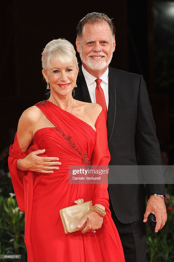 Actress Dame Helen Mirren and Taylor Hackford attends 'The Tempest' World Premiere at the Palazzo del Cinema during the 67th Venice International...