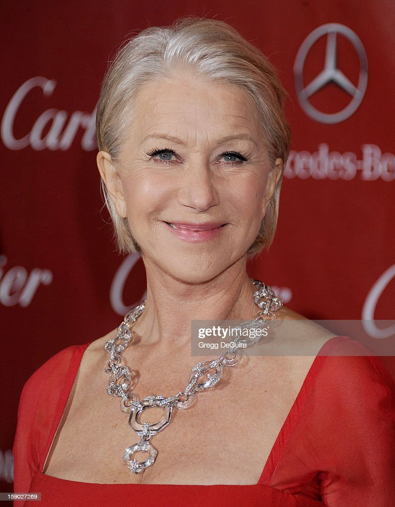 Actress Dame <a gi-track='captionPersonalityLinkClicked' href=/galleries/search?phrase=Helen+Mirren&family=editorial&specificpeople=201576 ng-click='$event.stopPropagation()'>Helen Mirren</a> arrives at the 24th Annual Palm Springs International Film Festival Awards Gala at Palm Springs Convention Center on January 5, 2013 in Palm Springs, California.
