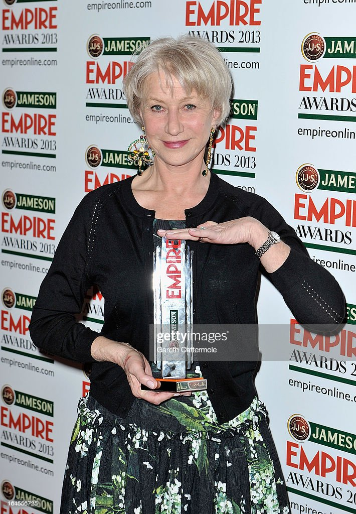 Actress Dame <a gi-track='captionPersonalityLinkClicked' href=/galleries/search?phrase=Helen+Mirren&family=editorial&specificpeople=201576 ng-click='$event.stopPropagation()'>Helen Mirren</a> with the Empire Legend award at the Jameson Empire Awards 2013 at Grosvenor House on March 24, 2013 in London, England.