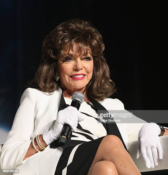 Actress Dame Joan Collins speaks during the 14th annual official Star Trek convention at the Rio Hotel Casino on August 8 2015 in Las Vegas Nevada