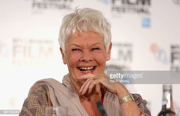 Actress Dame Judi Dench attends the 'Philomena' press conference during the 57th BFI London Film Festival at Claridges Hotel on October 16 2013 in...