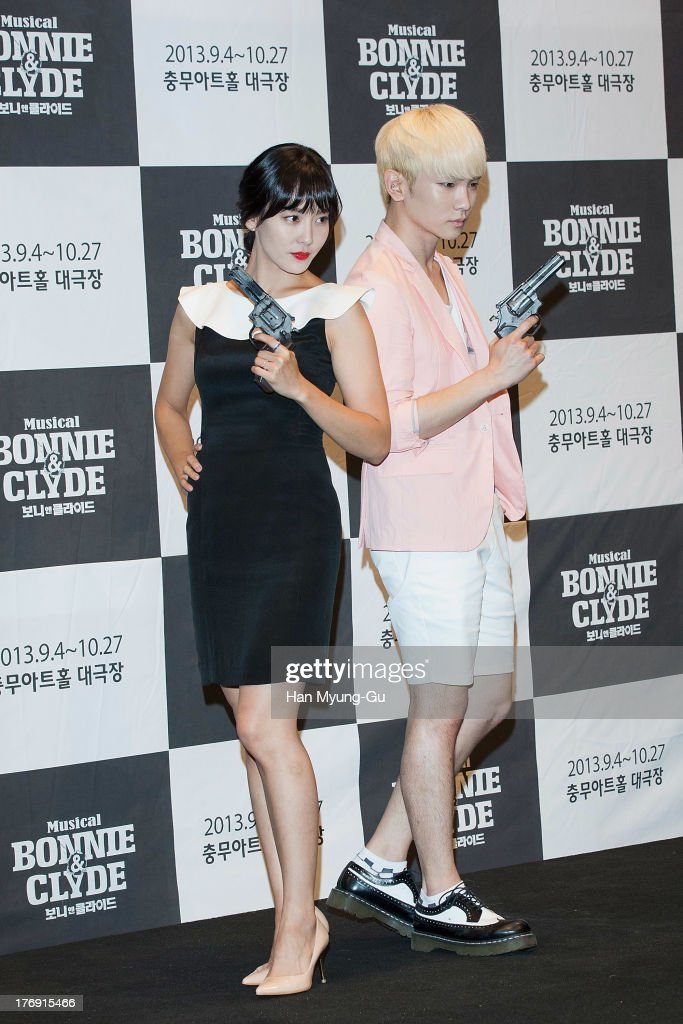 Actress Dana and <a gi-track='captionPersonalityLinkClicked' href=/galleries/search?phrase=Key+-+Korean+Singer&family=editorial&specificpeople=12538635 ng-click='$event.stopPropagation()'>Key</a> of South Korean boy band SHINee attend the press conference for musical 'Bonnie and Clyde' at M-Cube in Seoul on August 19, 2013 in Seoul, South Korea. The musical will open on September 04, in South Korea.