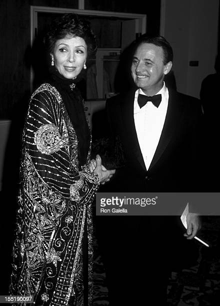 Actress Dana Wynter and John Hillerman attend 39th Annual Golden Globe Awards on January 30 1982 at the Beverly Hilton Hotel in Beverly Hills...