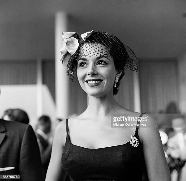 Actress Dana Wynter attends the Colgate Comedy Hour telecast during the grand opening of the Hilton Hotel in Beverly Hills CA