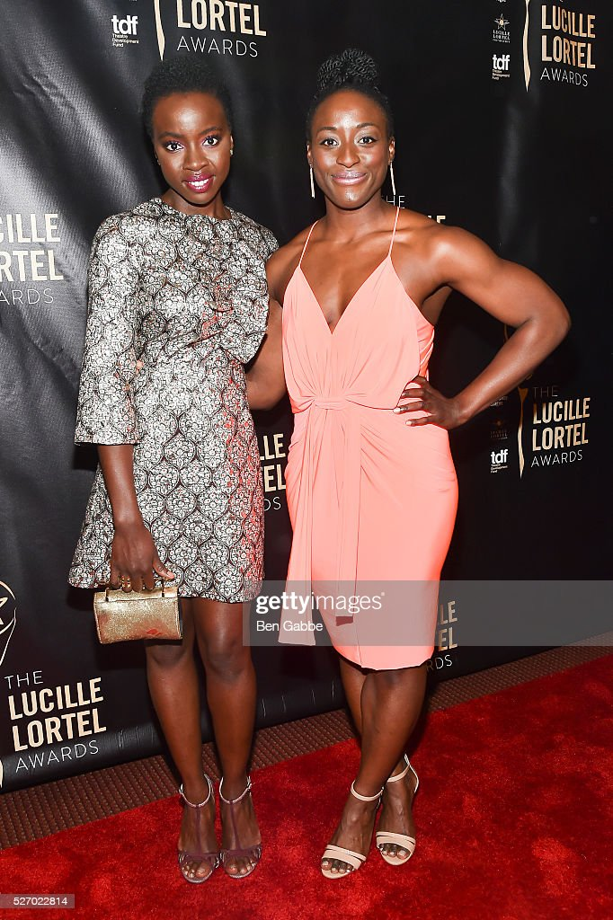 Actress Danai Gurira (L) and guest attend the 2016 Lucille Lortel Awards on May 01, 2016 in New York, New York.