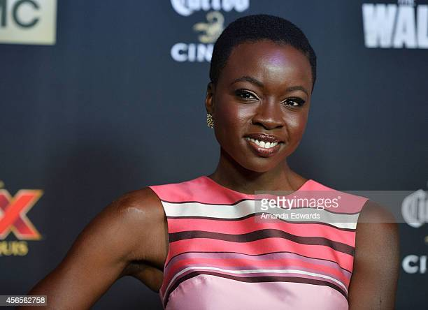 Actress Danai Gurira arrives at the Season 5 premiere of AMC's 'The Walking Dead' at AMC Universal City Walk on October 2 2014 in Universal City...
