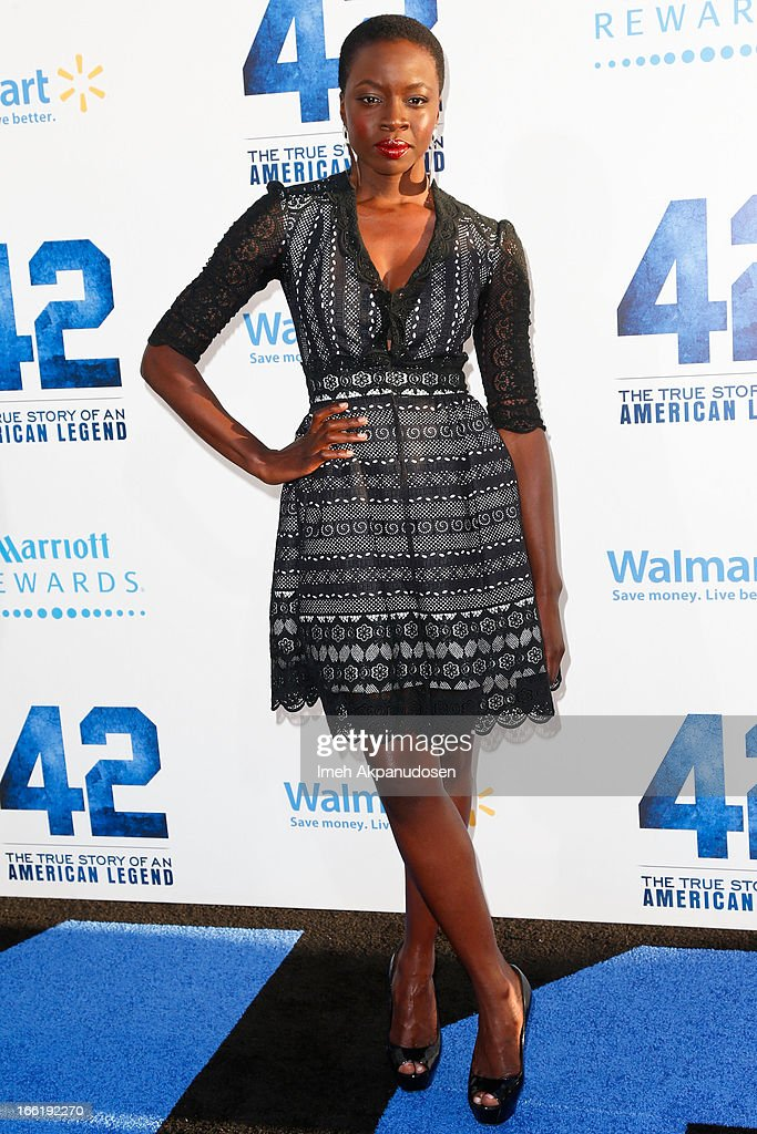 Actress Danai Gurira attends the premiere of Warner Bros. Pictures' And Legendary Pictures' '42' at TCL Chinese Theatre on April 9, 2013 in Hollywood, California.