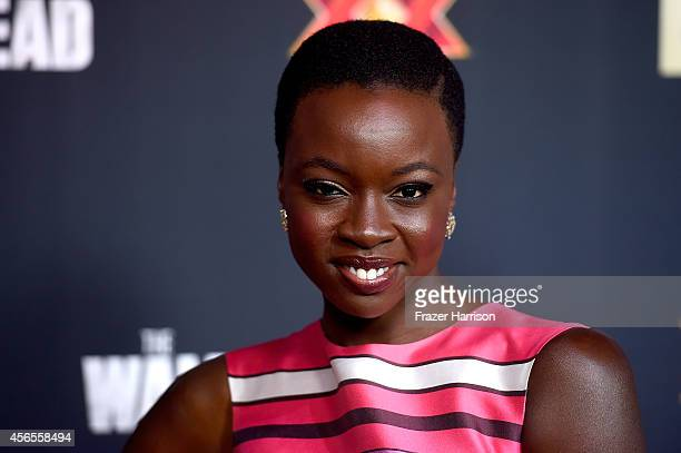 Actress Danai Gurira attends the season 5 premiere of 'The Walking Dead' at AMC Universal City Walk on October 2 2014 in Universal City California